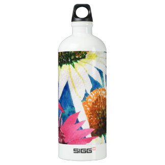 Pink Cone Flower Watercolor Painting Aluminum Water Bottle