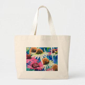 Pink Cone Flower Watercolor Painting Jumbo Tote Bag