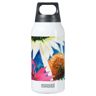 Pink Cone Flower Watercolor Painting Insulated Water Bottle