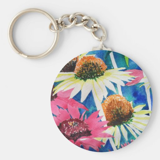 Pink Cone Flower Watercolor Painting Keychain