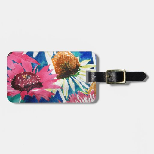 Pink Cone Flower Watercolor Painting Luggage Tags