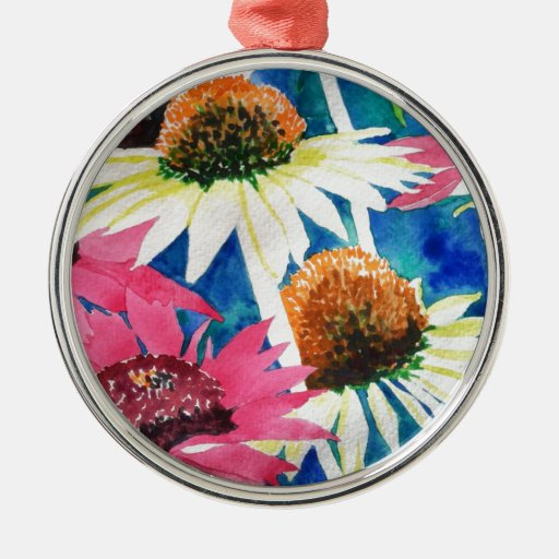 Pink Cone Flower Watercolor Painting Metal Ornament