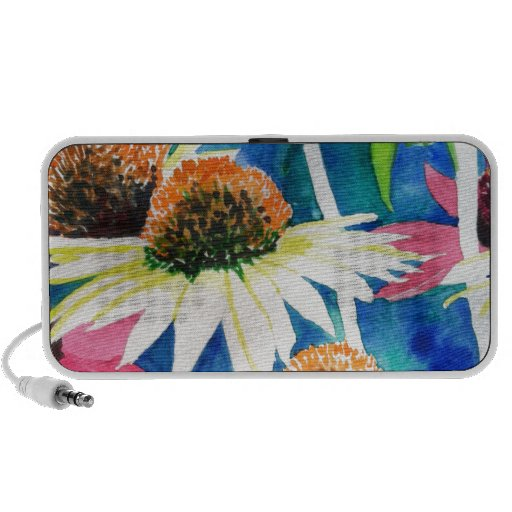 Pink Cone Flower Watercolor Painting Mp3 Speakers