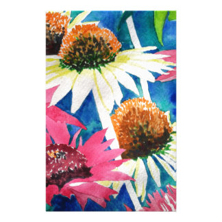 Pink Cone Flower Watercolor Painting Custom Stationery