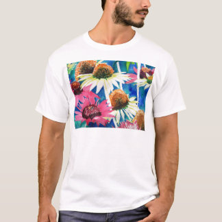 Pink Cone Flower Watercolor Painting T-Shirt