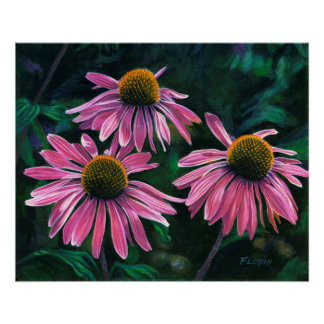 """Pink Cone Flowers, """"Summer's Colors"""" - Poster"""