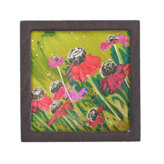 Pink Cone Flowers Swaying In The Breeze Premium Keepsake Boxes