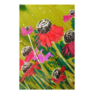 Pink Cone Flowers Swaying In The Breeze Personalized Stationery