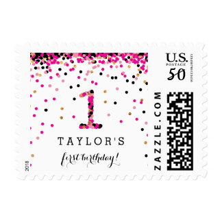 Pink Confetti 1st Birthday Party Stamps for Girl