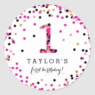 Pink Confetti 1st Birthday Party Stickers for Girl