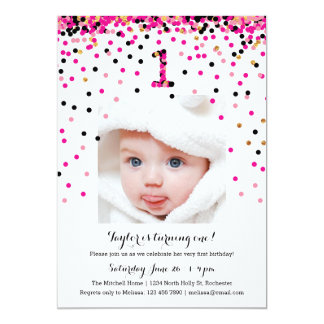 Pink Confetti 1st Birthday Photo Invitations Girl