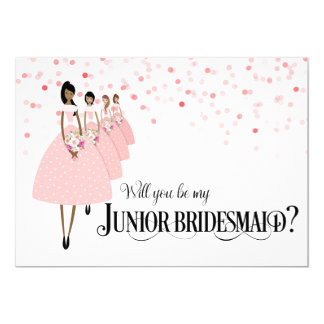 Pink Confetti Be My Junior Bridesmaid Ethnic Card