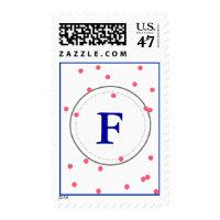 Pink Confetti Navy Monogram Postage