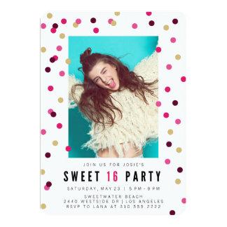 Pink Confetti Photo Sweet 16 Party Invitation