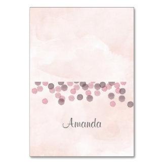 Pink Confetti Watercolor Place Card