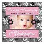 """Pink Contemporary Birth Announcement Photo Card 5.25"""" Square Invitation Card"""