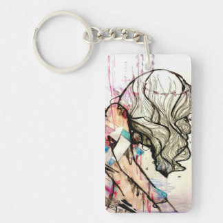 pink contemporary geometric girl art keychain