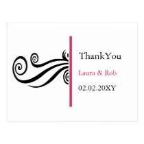 pink contemporary wedding Thank You Postcard