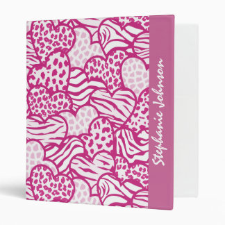 Pink contour girly animal print hearts binder