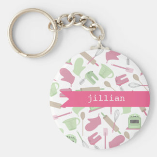 Pink Cooking Themed Personalized Keychain
