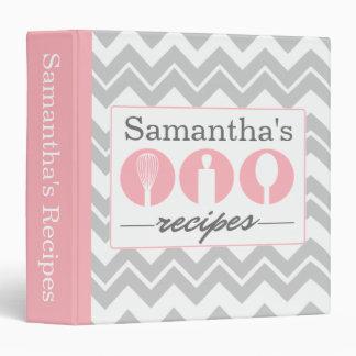 Pink Cooking Utensils Trio Recipe Binder