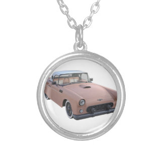 Pink Coral 50's Sport Car Round Pendant Necklace