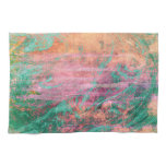 Pink Coral and Turquoise Marble Texture Hand Towels