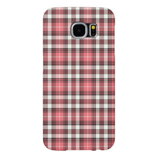 Pink Coral, Black and White Girly Plaid Samsung Galaxy S6 Case