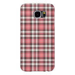 Pink Coral, Black and White Girly Plaid Samsung Galaxy S6 Cases