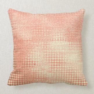 Pink Coral  Blush Gold  Glam Diamond Cut Metallic Throw Pillow