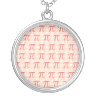 Pink & Coral Complex Pi Round Pendant Necklace