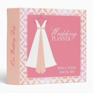 Pink & Coral Damask & Bridal Gown Wedding Planner Vinyl Binders
