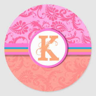 Pink & Coral Damask Distressed Wedding Stickers