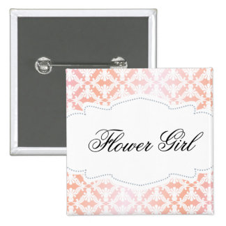 Pink & Coral Damask Flower Girl Pinback Button