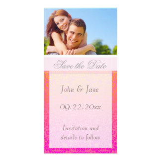 "Pink/Coral Damask/photo  ""Save the Date"" Card"