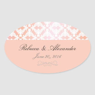 Pink & Coral Damask Wedding Oval Sticker