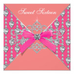 Pink Coral Diamonds Coral Sweet 16 Birthday Party 5.25x5.25 Square Paper Invitation Card