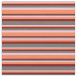 [ Thumbnail: Pink, Coral, Maroon & Dim Grey Lines Pattern Fabric ]