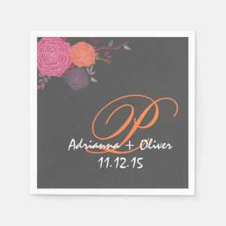 Pink Coral Mauve Flowers Wedding Monogram Gray Paper Napkin