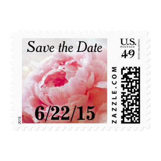 Pink Coral Peony Save The Date Postage Stamps