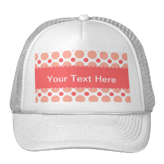 Pink & Coral Polka Dot Pattern Trucker Hat