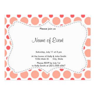 Pink & Coral Polka Dot Pattern Postcard