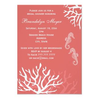 Pink Coral Reef Seahorse Bridal Shower Invitations