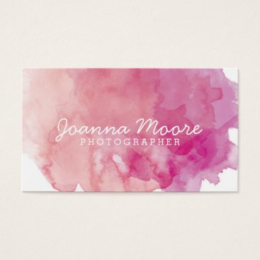 BirchAndBlossom Pink Coral Watercolor Business Card