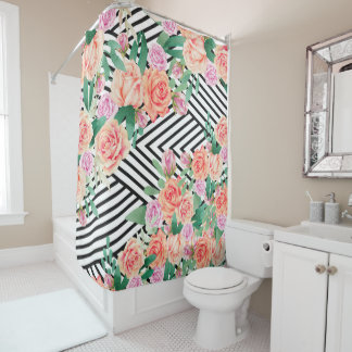 Pink coral watercolor roses black white stripe shower curtain