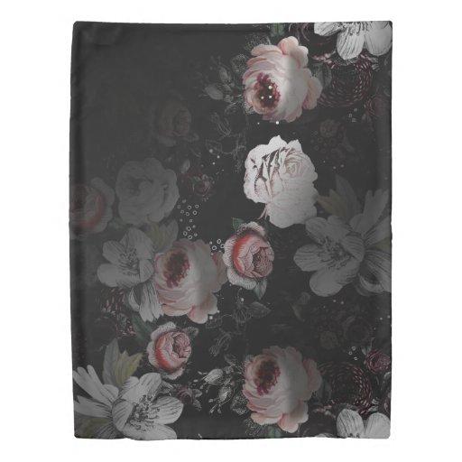 Pink Coral White Amp Black Victorian Rose Floral Duvet