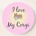Pink Corgi Drink Coaster
