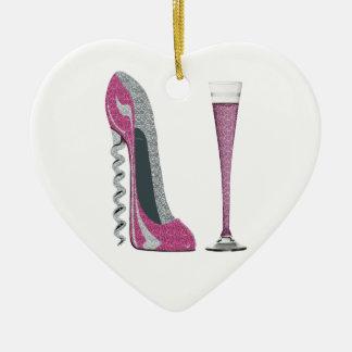 Pink Corkscrew Stiletto and Champagne Flute Ceramic Ornament