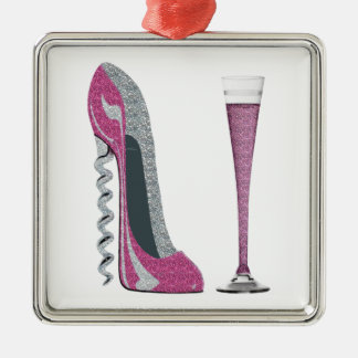 Pink Corkscrew Stiletto and Champagne Flute Metal Ornament