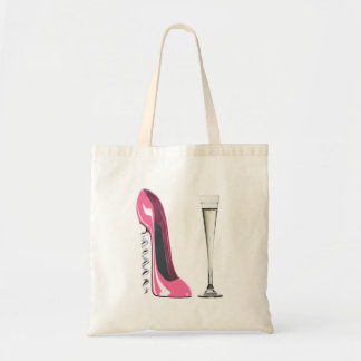 Pink Corkscrew Stiletto Shoe and Champagne Flute Tote Bag